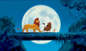 "Simba, Pumbaa and Timon in ""The Lion King 3D."""