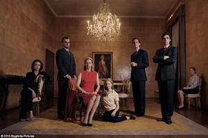 "Marisa Berenson as Allegra, Pippo Delbono as Tancredi, Tilda Swinton as Emma, Alba Rohrwacher as Elisabetta, Mattia Zaccaro as Gianluca, Flavio Parenti as Edoardo Jr., and Maria Paiato as Ida in ""I Am Love."""
