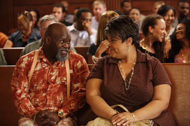 "David Mann as Brown and Tamela Mann as Cora in ""Tyler Perry's Madea Goes to Jail."""