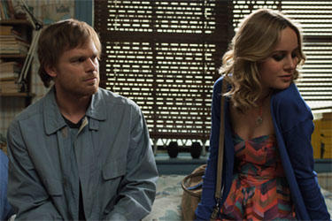 "Michael C. Hall and Brie Larson in ""The Trouble with Bliss."""