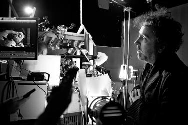 "Director Tim Burton on the set of ""Frankenweenie."""