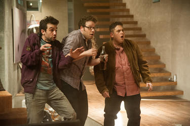 "Jay Baruchel, Seth Rogen and Jonah Hill in ""This is The End."""