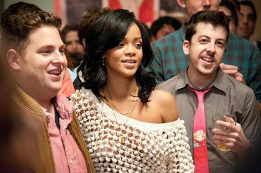 "Jonah Hill, Rhianna and Christopher Mintz-Plasse in ""This is The End."""