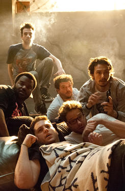 "Jay Baruchel, Danny McBride, James Franco, Seth Rogen, Jonah Hill and Craig Robison in ""This is The End."""