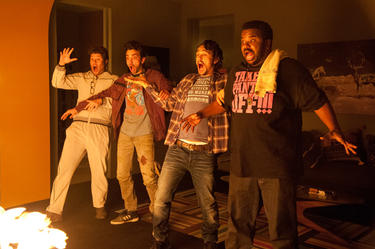 "Seth Rogen, Jay Baruchel, James Franco and Craig Robinson in ""This is The End."""
