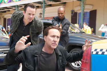 "Nicolas Cage as Will Montgomery, Matt Nolan as Tessler and Marcus Lyle Brown as Matthews in ""Stolen."""