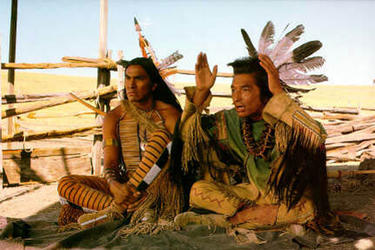 "A scene from the film ""Dances With Wolves."""