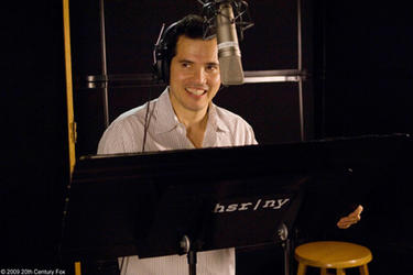 "John Leguizamo on the set of ""Ice Age: Dawn of the Dinosaurs."""