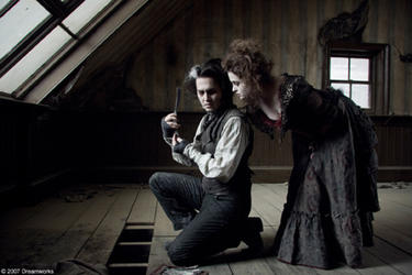 "Johnny Depp and Helena Bonham Carter in ""Sweeney Todd: The Demon Barber of Fleet Street."""
