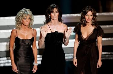 Farah Fawcett, Kate Jackson, and Jaclyn Smith at the 58th Annual Primetime Emmy Awards.