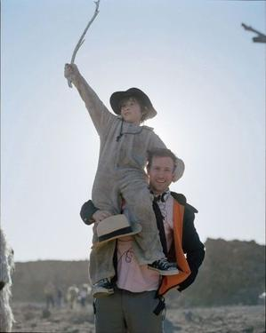 "Max Records and director Spike Jonze on the set of ""Where the Wild Things Are."""