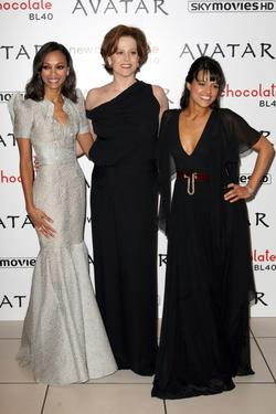 "Zoe Saldana, Sigourney Weaver and Michelle Rodriguez at the London premiere of ""Avatar."""