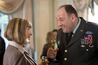 "Mimi Kennedy as Karen and James Gandolfini as General Miller in ""In the Loop."""