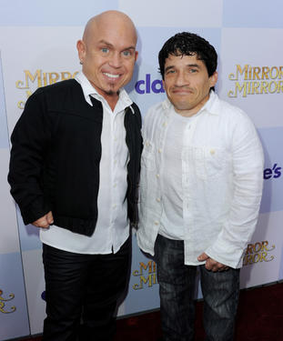 "Martin Klebba and Mark Povinelli at the California premiere of ""Mirror Mirror."""