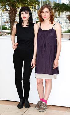 "Mary Tsoni and Aggeliki Papoulia at the photocall of ""Dog Tooth"" during the 62nd International Cannes Film Festival."