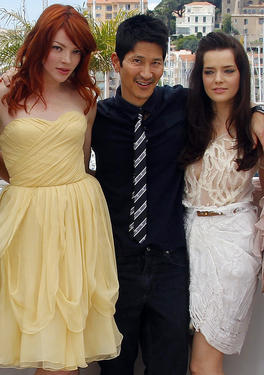 "Nicole LaLiberte, director Gregg Araki and Roxane Mesquida at the photocall of ""Kaboom"" during the 63rd Cannes Film Festival."