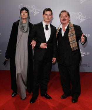 "Veruschka, Clemens Schick and Juergen Tarrach at the German premiere of ""Casino Royale."""