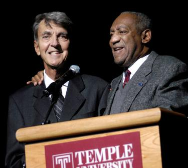 "Bill Cosby and Lou Sheimer at the world premiere of ""Fat Albert""."