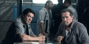"Sylvester Stallone and Arnold Schwarzenegger in ""Escape Plan."""