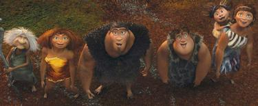 "Gran voiced by Cloris Leachman, Eep voiced by Emma Stone, Grug voiced by Nicolas Cage, Thunk voiced by Clark Duke, Ugga voiced by Catherine Keener in ""The Croods."""