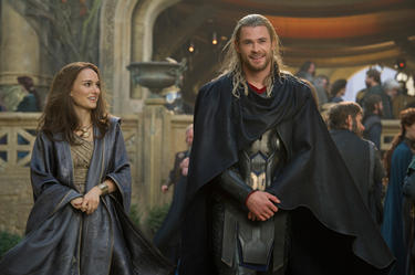 "Natalie Portman and Chris Hemsworth in ""Thor: The Dark World."""