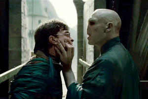 Daniel Radcliffe as Harry Potter and Ralph Fiennes as Lord Voldemort in ``Harry Potter and the Deathly Hollows: Part 2.''