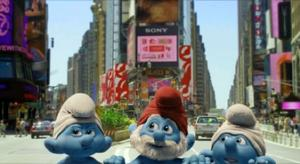 "Grouchy, Papa and Clumsy Smurf in ""Smurfs."""