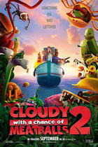 "Poster art for ""Cloudy with a chance of Meatballs 2."""