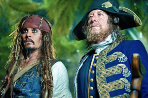 "Johnny Depp as Captain Jack Sparrow and Geoffrey Rush as Barbossa in ""Pirates of the Caribbean: On Stranger Tides"""