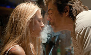 "Blake Lively and Benicio Del Toro in ""Savages."""