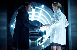 "Aaron Eckhart as Adam and Yvonne Strahovski as Terra in ""I, Frankenstein."""