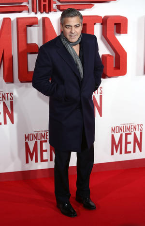 "George Clooney at the UK premiere of ""The Monuments Men."""