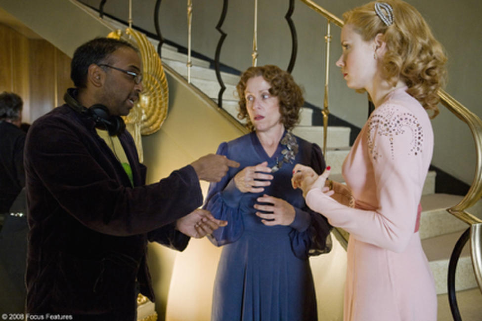 Director Bharat Nalluri, Frances McDormand and Amy Adams on the set of