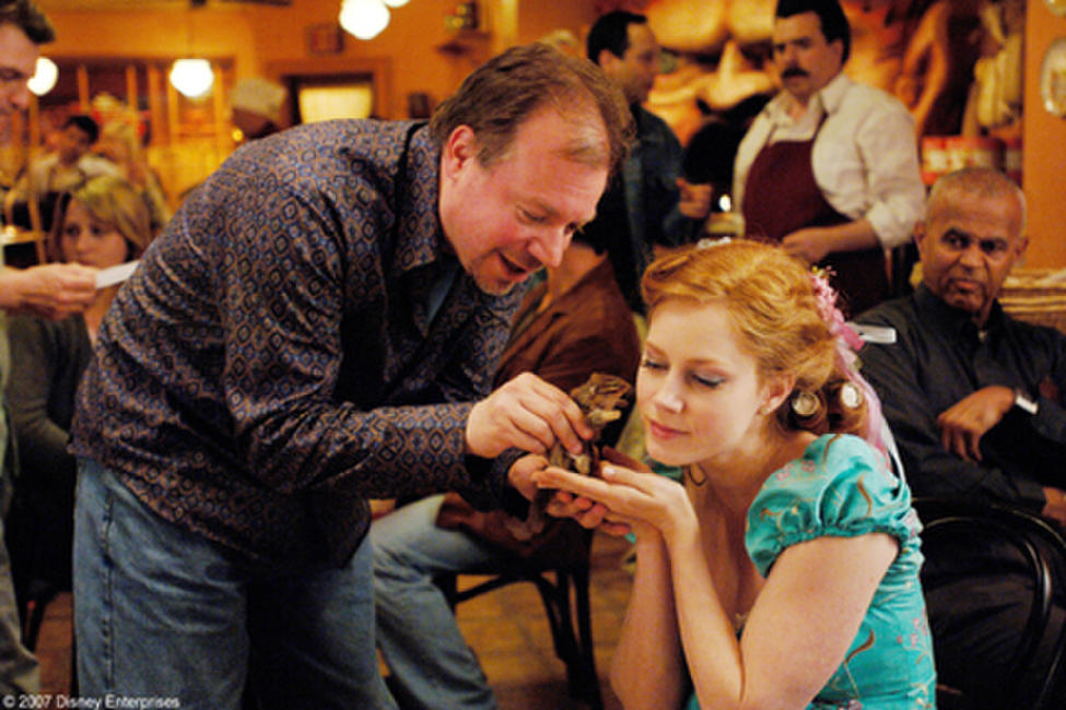 Director Kevin Lima and Amy Adams on the set of