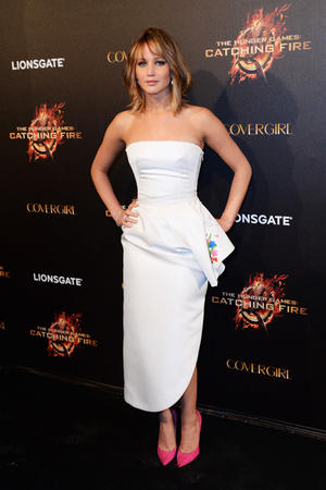 "Jennifer Lawrence at ""The Hunger Games: Catching Fire"" Cannes Party at Baoli Beach during the 66th Annual Cannes Film Festival."
