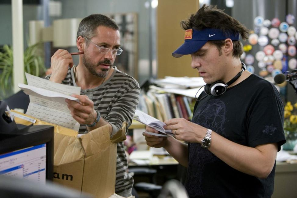 Robert Downey Jr. and director Joe Wright on the set of