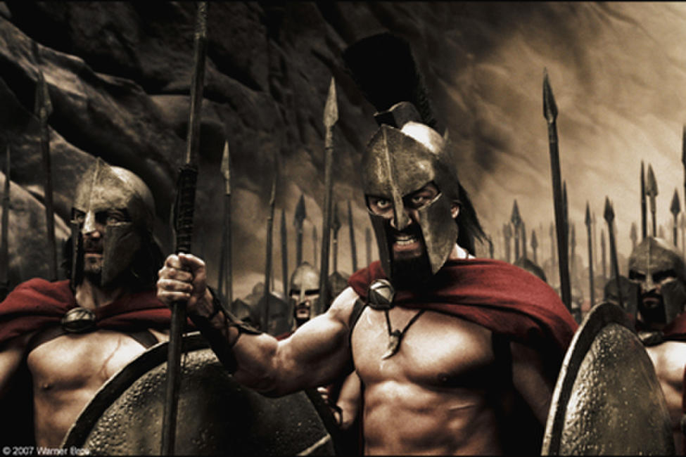 Captain (Vincent Regan), Leonidas (Gerard Butler) and the Spartans stand ready to halt the advance of the Persian army in