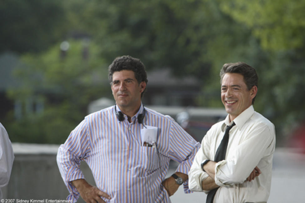 Director Jon Poll and Robert Downey Jr. on the set of