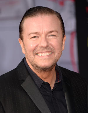 "Ricky Gervais at the California premiere of ""Muppets Most Wanted."""