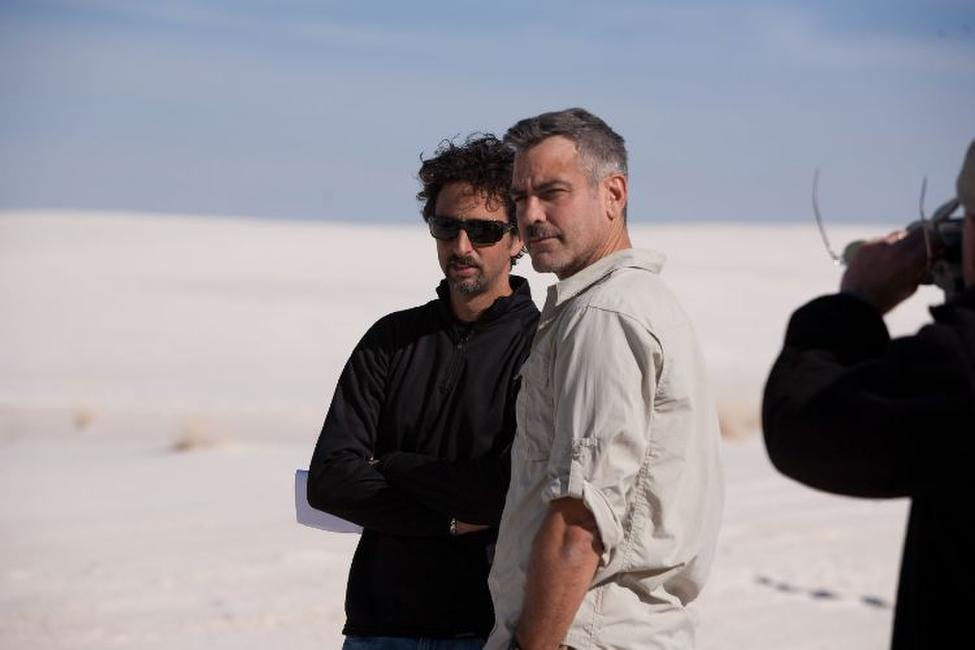 Director Grant Heslov and George Clooney on the set of