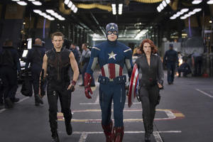 "Jeremy Renner, Chris Evans and Scarlett Johansson in ""The Avengers."""