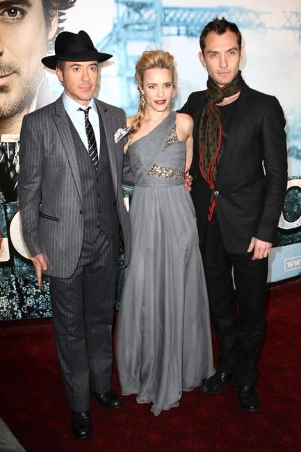 Robert Downey, Jr., Rachel McAdams and Jude Law at the London premiere of