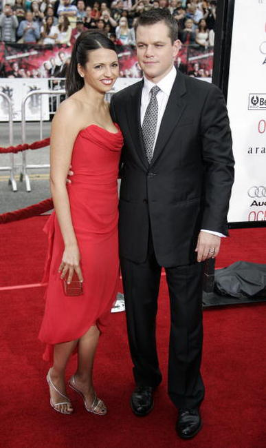 Actor Matt Damon and his wife Luciana Barroso at the Hollywood premiere of