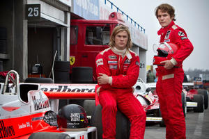 "Chris Hemsworth and Daniel Bruhl in ""Rush."""