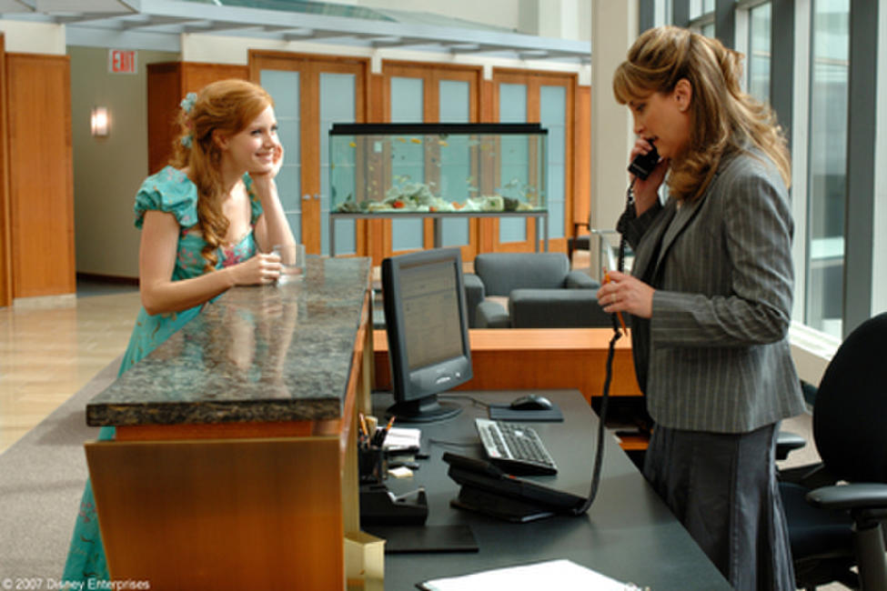 Amy Adams and Jodi Benson on the set of