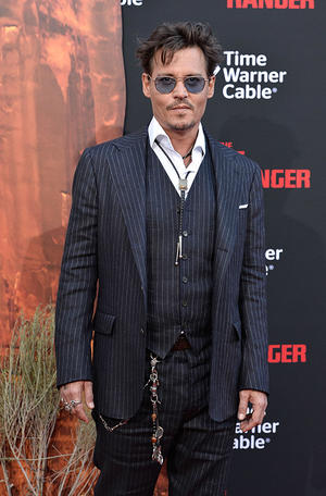"""Johnny Depp at the premiere of """"The Lone Ranger"""" at Disney California Adventure Park."""