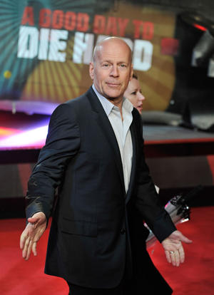 "Bruce Willis at the UK premiere of ""A Good Day to Die Hard."""