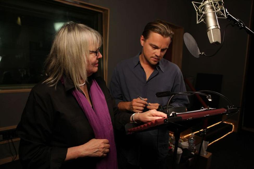 Toni Myers and Leonardo DiCaprio on the set of