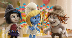 """Vexy voiced by Christina Ricci, Smurfette voiced by Katy Perry and Hackus voiced by J.B. Smoove in """"The Smurfs 2."""""""