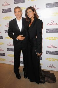 George Clooney and Elisabetta Canalis at the after party of the London premiere of